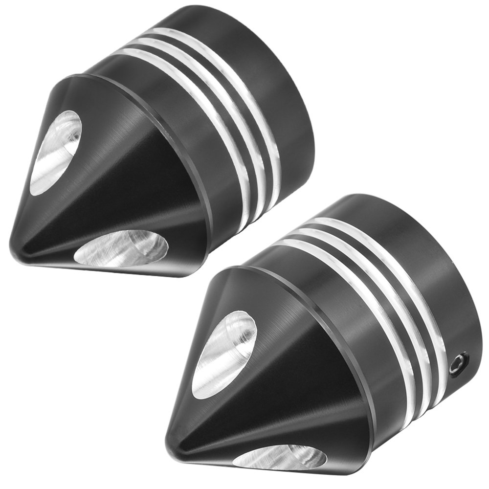 ClipsOne Black Front Axle Covers Cap Spike Kit For Harley Dyna Softail Touring XL883 XL1200 X48 2002-2017