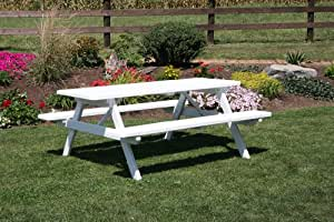 Outdoor 6 Foot Pine Picnic Table with Attached Benchs - PAINTED- Amish Made USA -White
