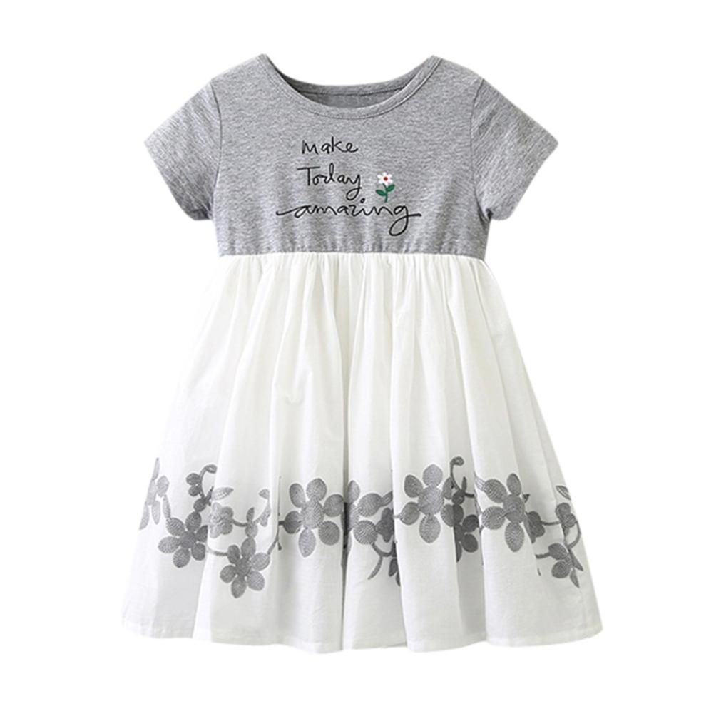 Dress for 1-5 Years Old Girl, Shanx Little Baby Girls Letter Make Today Amazing Casual Short Sleeve Floral Skirt Dress Summer