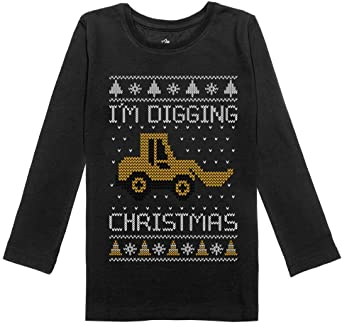 I/'m Digging Christmas Ugly Sweater Tractor Toddler Kids T-Shirt Construction