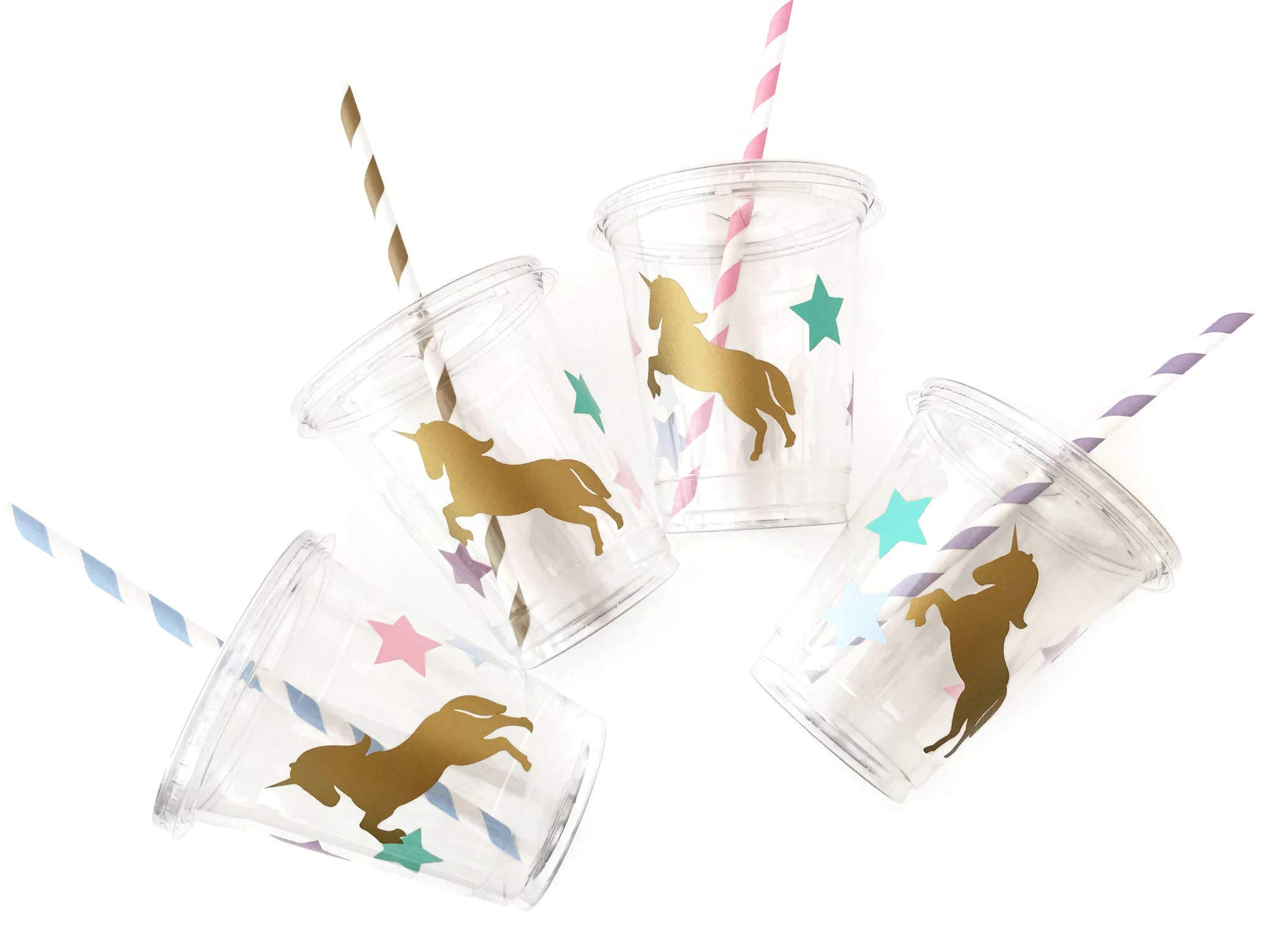 Unicorn Cups Set of 12 Plastic Cups Lids Paper Straws Birthday Party Supplies