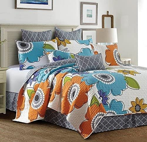 Donatella Blue and Orange Tropical Flower Quilt and Sham 3 Piece (Donatella, Queen/Full)