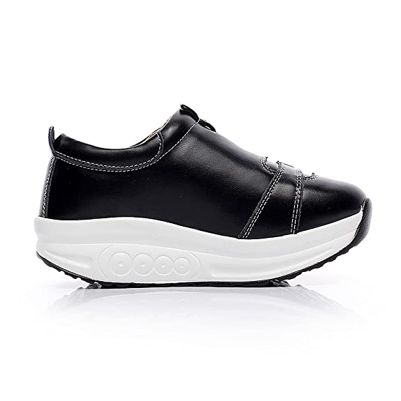 Jamron Mujer Moda Plataforma Cuero Aptitud Zapatillas Oscilación Zapatos para Caminar para Forjando Piernas Negro 1062 EU35.5 gHRbQbZIDh