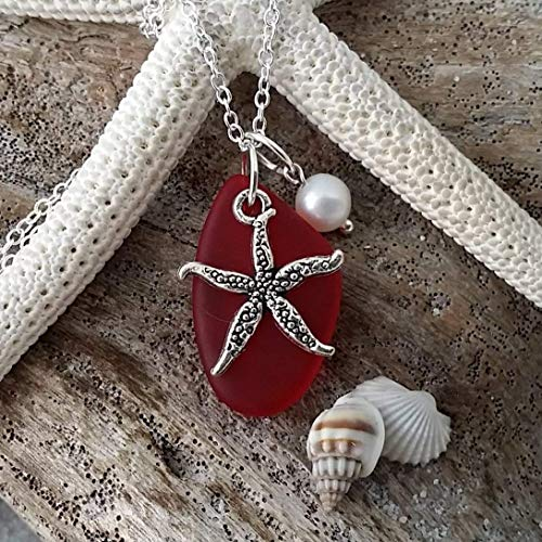 - Handmade in Hawaii, Ruby red sea glass necklace,