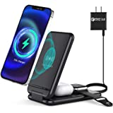 leQuiven 3 in 1 Wireless Charging Station, Foldable Wireless Charger Stand Compatible for iPhone 12/11/Pro Max/XR/XS Max/X/Ap