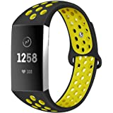 Silicone Bands Compatible with Fitbit Charge 3 Band Silicone Breathable Soft Replacement Straps with Air Holes Double Layer Sports Watch Band
