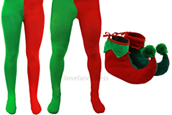 ADULT ELF TIGHTS WITH ELF SHOES CHRISTMAS FANCY DRESS ACCESSORY MENS LADIES  GREEN   RED TIGHTS ca581aeeb68