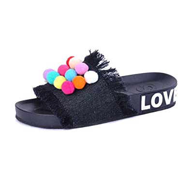 32804431a821 U-MAC Platform Slide Sandals for Womens Wide Band with Candy Color Balls  Summer Beach