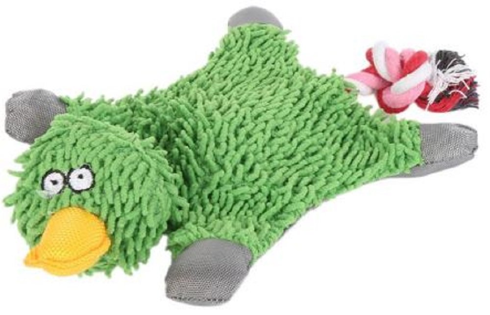 Generic Green Duck Squeaking Toy for Dogs with Rope Tail