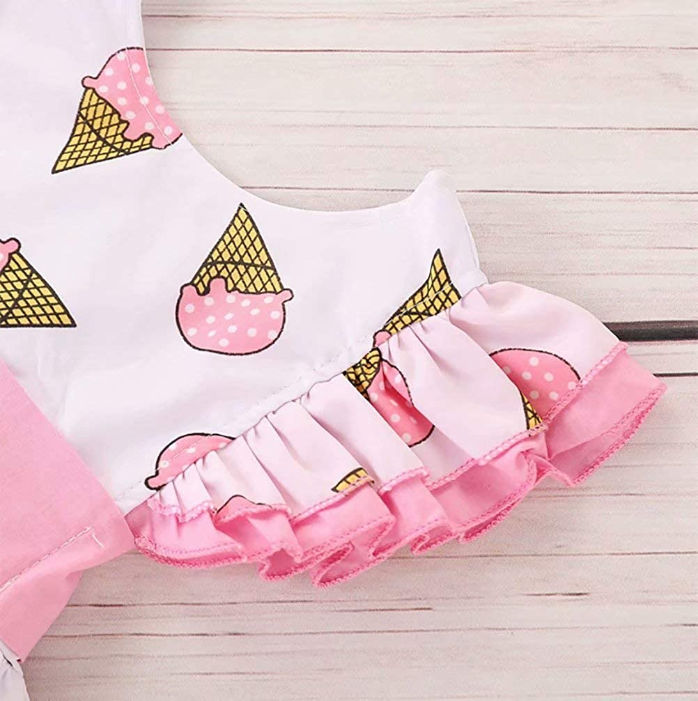 LOTUCY Toddler Girls Dress Cute Ice Cream Print Dresses Summer Sundress Fly Sleeve Dress Outfits