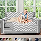 Sofa Shield Original Patent Pending Reversible Loveseat Slipcover, Dogs, 2' Strap/Hook, Seat Width Up to 54' Washable...