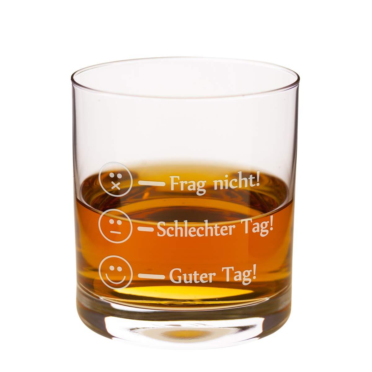 Leonardo Whiskyglas - Frag Nicht - Guter Tag Lustiges Whisky Glas - Whiskey Rum Markenglas mit Smiley Gravur je nach Stimmung für Vatertag, Papa Sohn Geschenk Bild