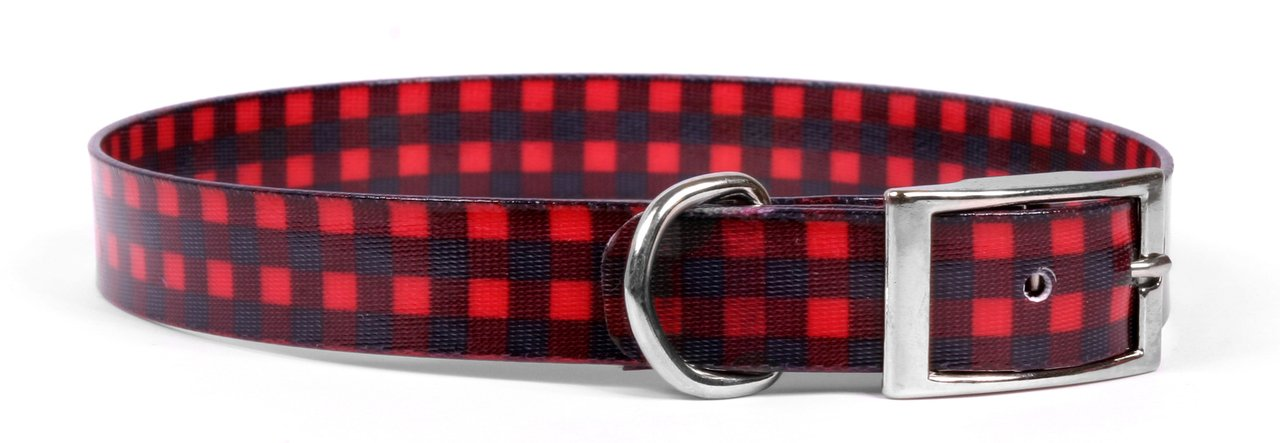 3 4\ Yellow Dog Design Buffalo Plaid Red Elements Dog Collar 3 4  Wide and Fits Neck 13.5 to 17 , Medium