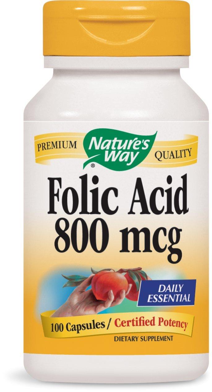 Natures Way Folic Acid 800 mcg 100 capsules. Pack of 5 bottles.