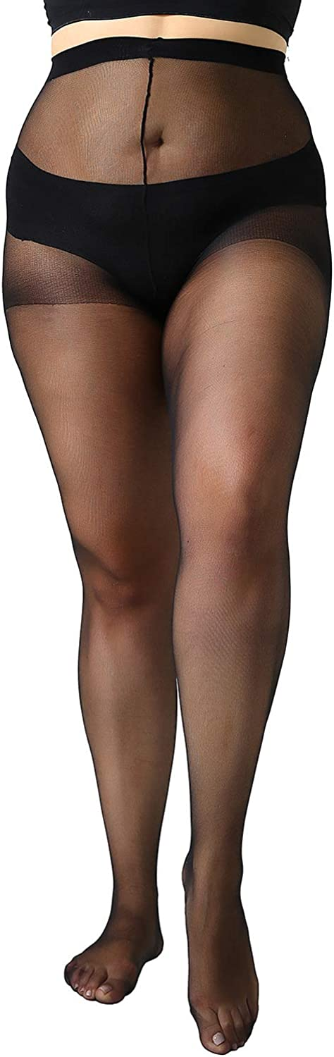 MANZI Womens Plus Size Pantyhose 4 Pairs Sheer Nylon Tights