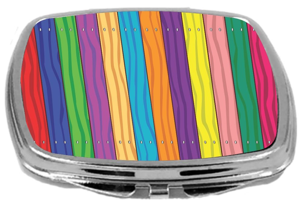 Rikki Knight Multicolor Wood Panel Art Background Design Compact Mirror, 17 Ounce