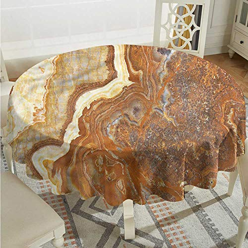 - Tim1Beve Marble Stain Resistant Round Tablecloth Natural Travertine Facet Dinner Picnic Table Cloth Home Decoration D50 INCH