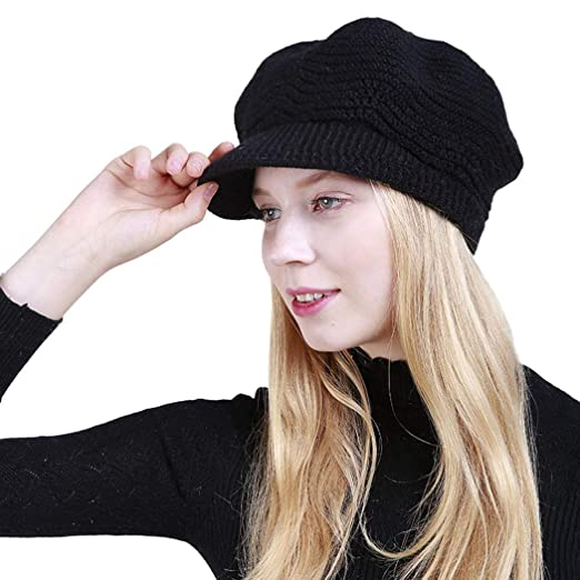4c51a12c9 Zoylink Women Knit Hat Casual Soft Winter Wool Cap Girl Party Hat ...