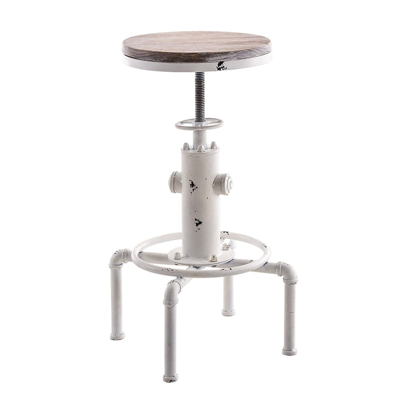 Topower American Antique Vintage Industrial Barstool Solid Wood Water Pipe Fire Hydrant Design Cafe Coffee Industrial Bar Stool (Antique White, 1)