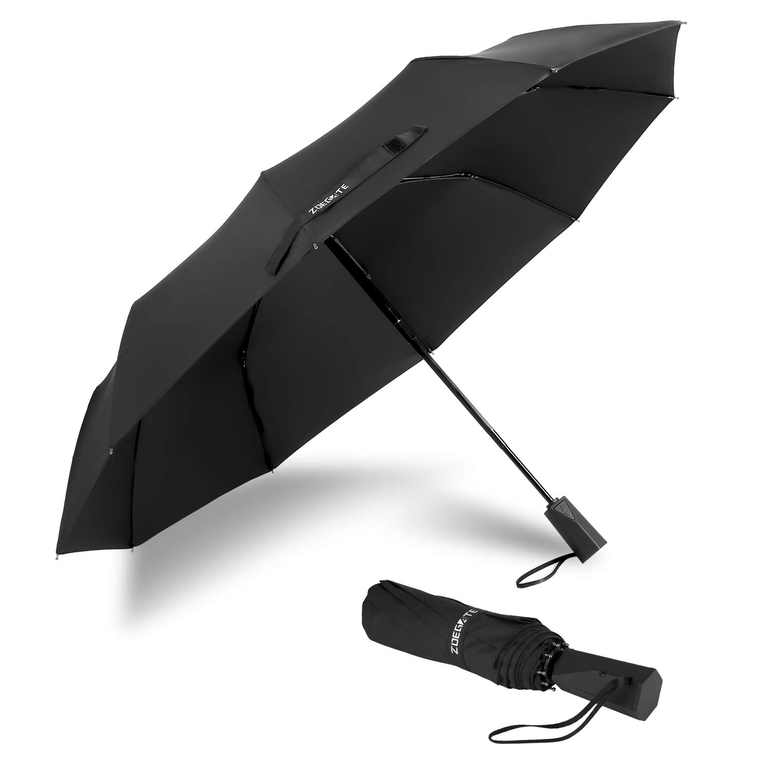 Speedsporting Travel Windproof Umbrella Unbreakable Automatic Compact Umbrellas Men/Women One Handed Operation, 10 Ribs Reinforced Windproof Fast Drying Umbrella, Stainless Steel & Fiberglass Construction Slip-Proof Handle for Easy Carry