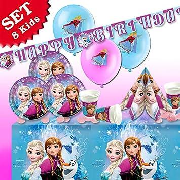 Juego de decoración de cumpleaños infantil, temática Frozen ...