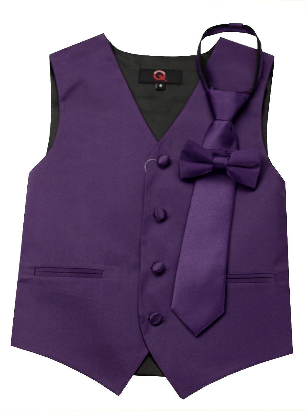 Brand Q Boy's Tuxedo Vest, Zipper Tie & Bow-Tie Set in Lapis Brand Q Boy's Tuxedo Vest B10BB