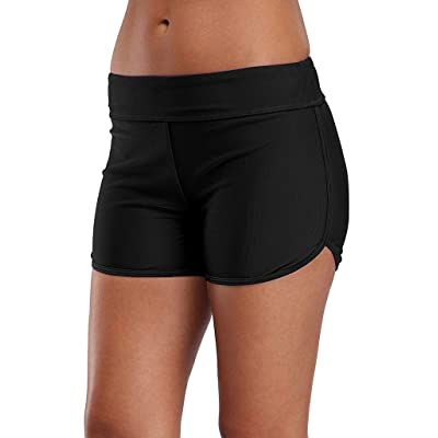 Charmo Swimsuit Bottoms for Women Tummy Control Swim Shorts Solid Boardshorts at Women's Clothing store