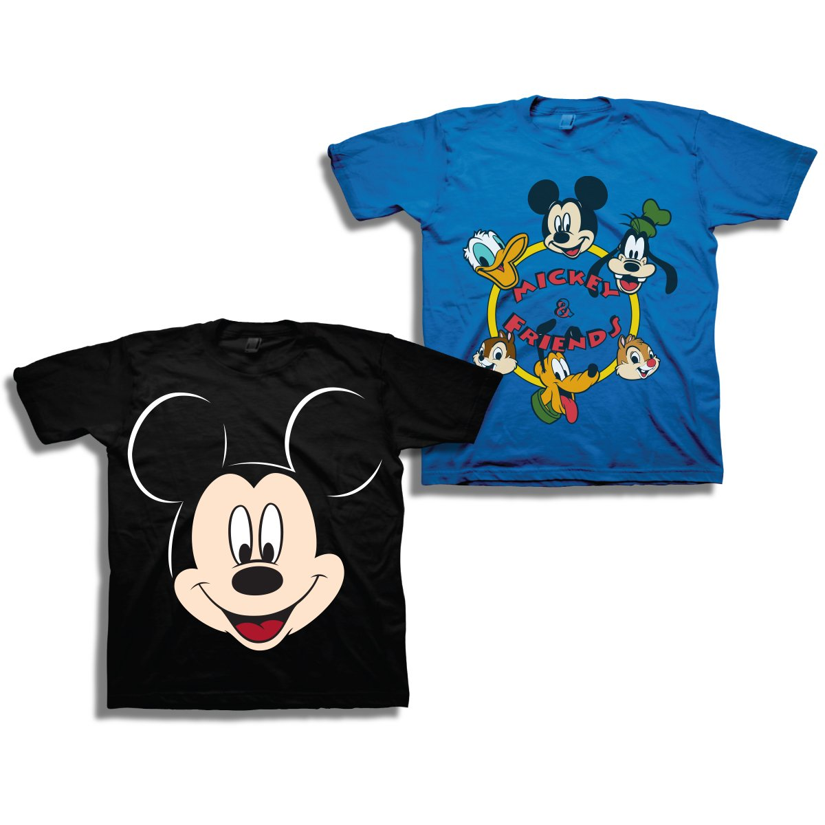 Disney Boys Mickey Mouse Shirt – 2 Pack of Mickey Mouse Tees – Mickey Mouse, Donald Duck, Goofy, Pluto, and Minnie Mouse (Blue/Black, 3T)