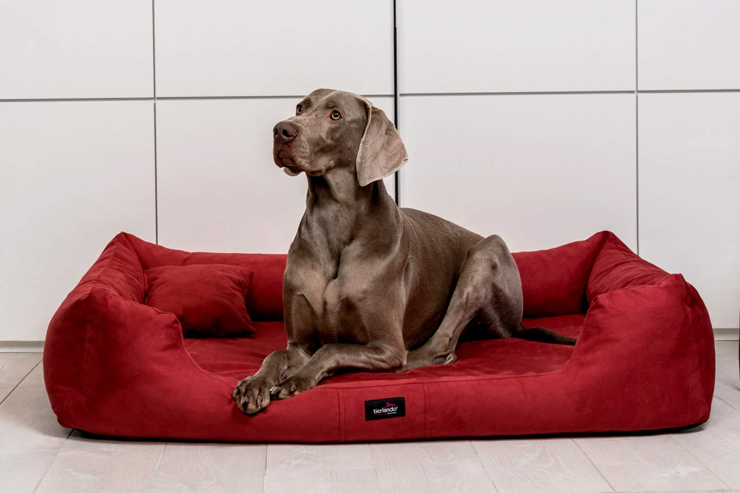 Tierlando Orthopedic Dog Bed Pluto Ortho Visco Visco Foam Made of Soft Velour Burgundy, L 105cm