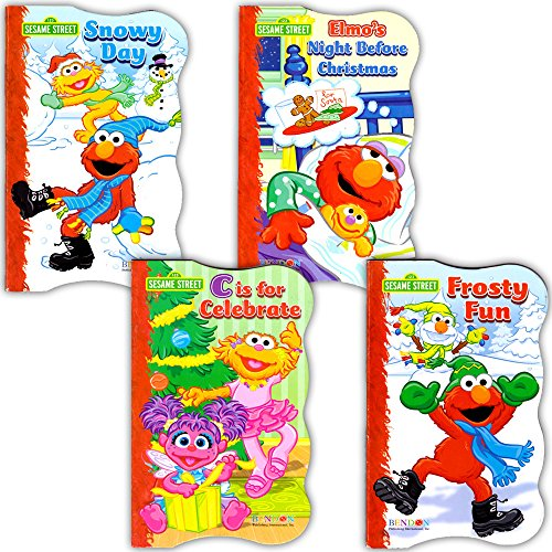 Sesame Street Elmo Christmas Board Book Set For Kids Toddlers (Set of 2 Board Books) (Baby Sesame Street Party Supplies)