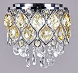 New Galaxy Modern LED Crystal Chandelier Chrome Metal Shade Flushmount Ceiling Lighting Fixture, #809