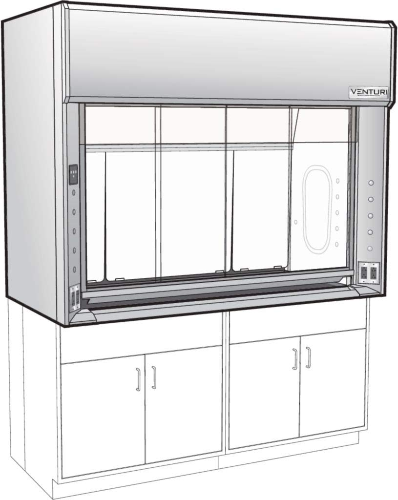 V06F283072SS - Inside Depth : 30'' - Venturi V06 General Purpose Bench Fume Hood with Combination Vertical Rising/Horizontal Sash, Type 304L Stainless Steel Liner, Kewaunee Scientific - Each by Kewaunee Scientific