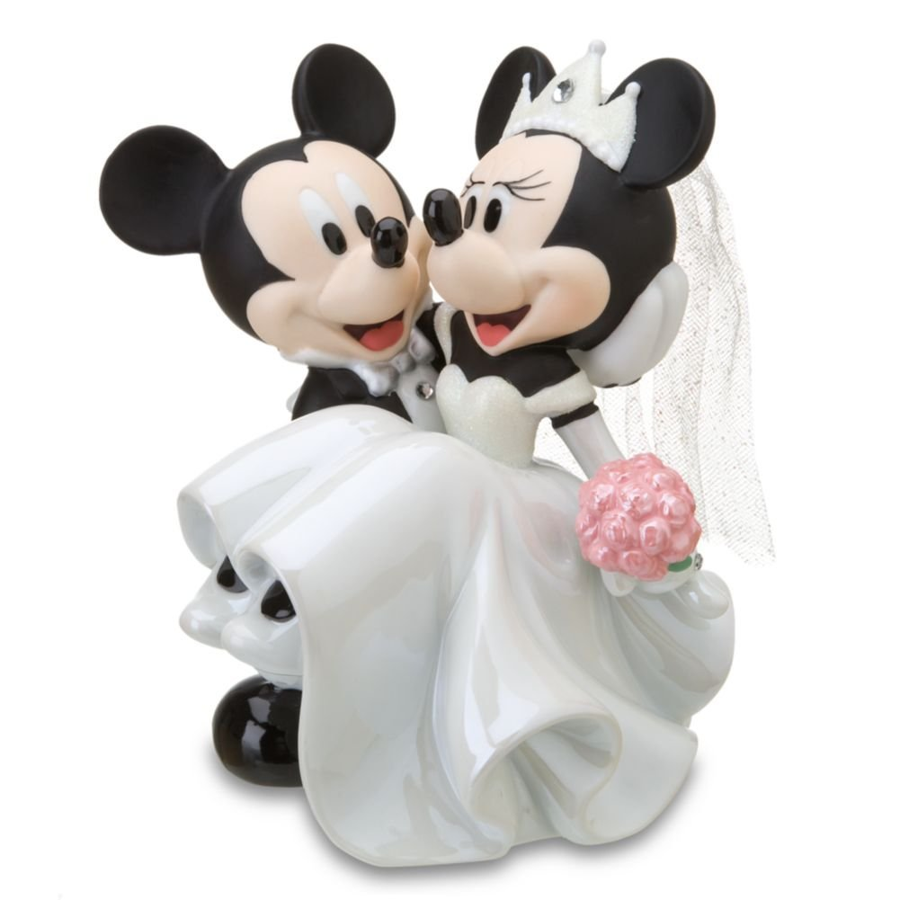 Disney Parks Minnie Mickey Mouse Bride Groom Porcelain Wedding Figurine Cake Topper