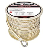 Extreme Max BoatTector Premium Double Braid Nylon Anchor Line with Thimble, White & Gold
