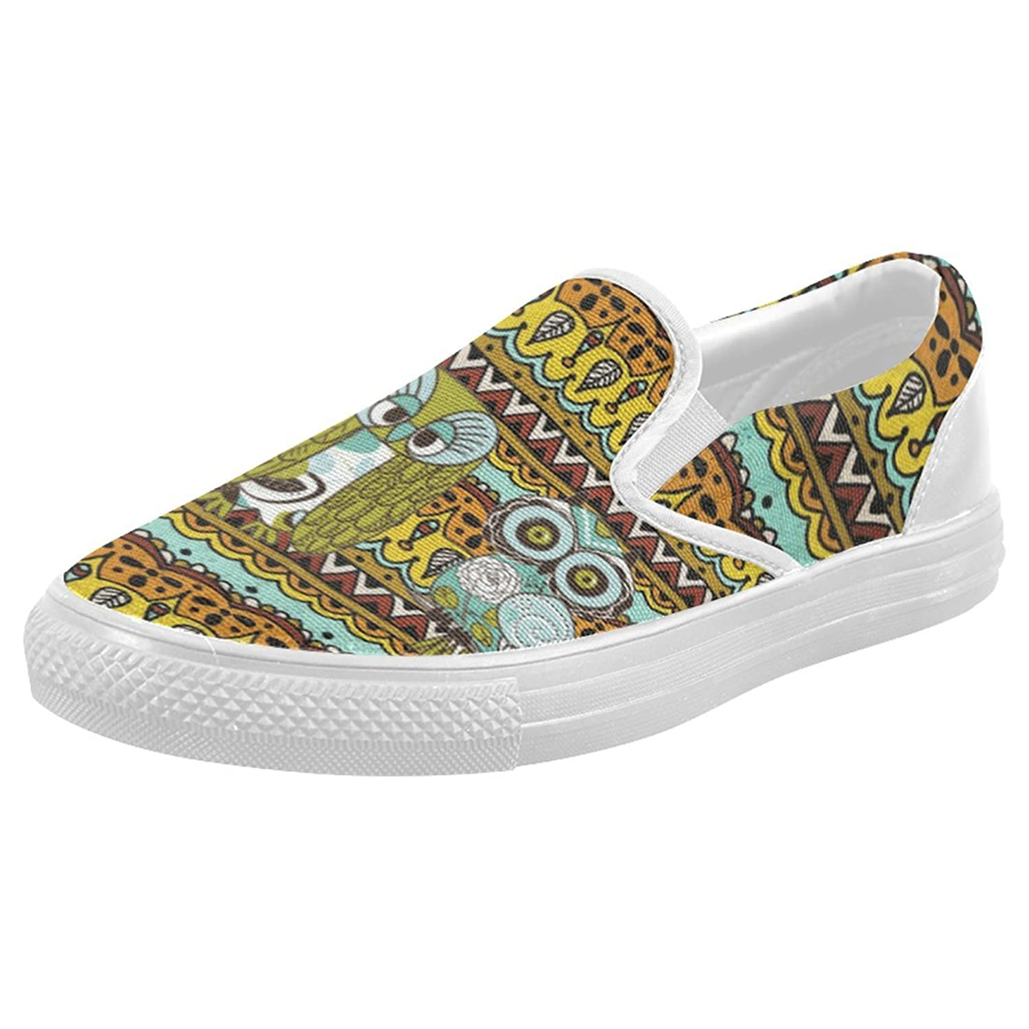 best InterestPrint Cute Owl Casual Slip-on Canvas Women's Fashion Sneakers Shoes