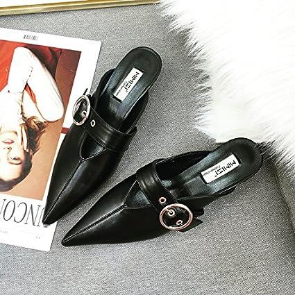Angrousobiu La pequeña punta con drag-and-drop zapatillas zapatos sandalias Verano Mujer zapatillas