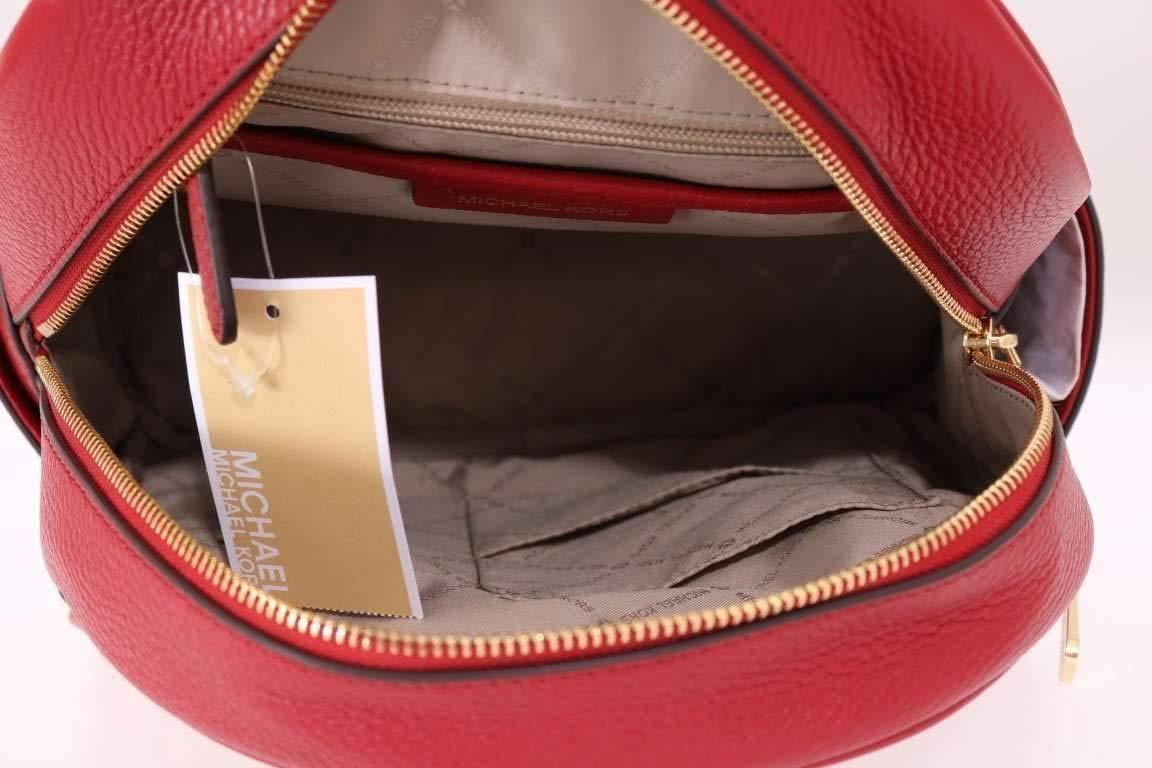 Michael Kors Abbey Medium Studded Leather Backpack For Work School Office Travel (Scarlet)