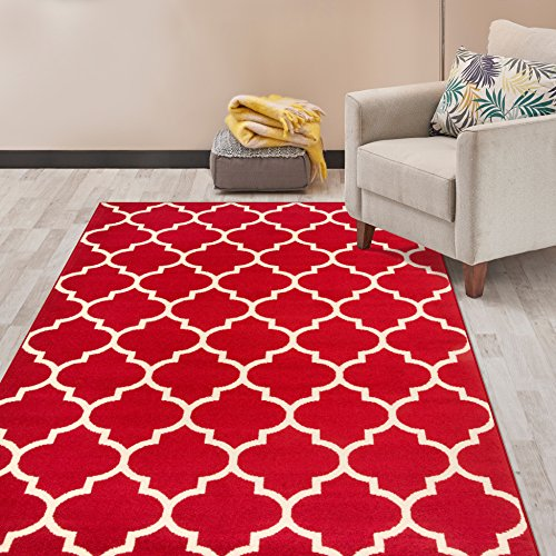 - Rugshop Contemporary Modern Moroccan Trellis Area Rug 5' x 7' Red