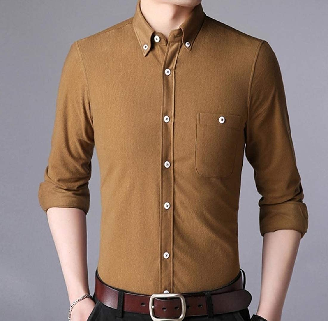 Young2 Mens Solid Color Plus Size Corduroy Button-Down-Shirts Shirts