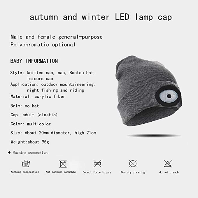 49dfc887e96 Amazon.com   Labyrinen Autumn and Winter Warm Knitted Hat Headband with LED  Light Built in for Night Running Mountaineering Night Fishing Hiking