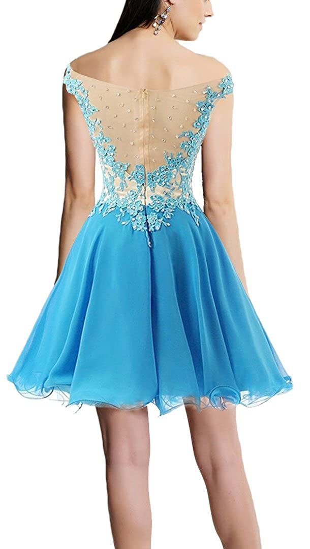 Rong store Womens Short Lace Prom Party Gown Homecoming Dress for Juniors Blue US18