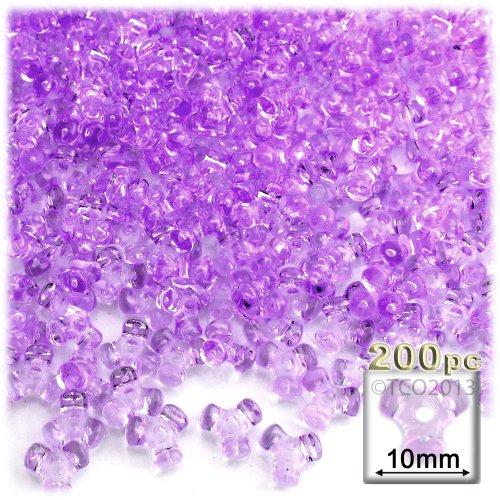 The Crafts Outlet 1000-Piece Plastic Transparent Tri Beads, 10mm, Lavender Purple