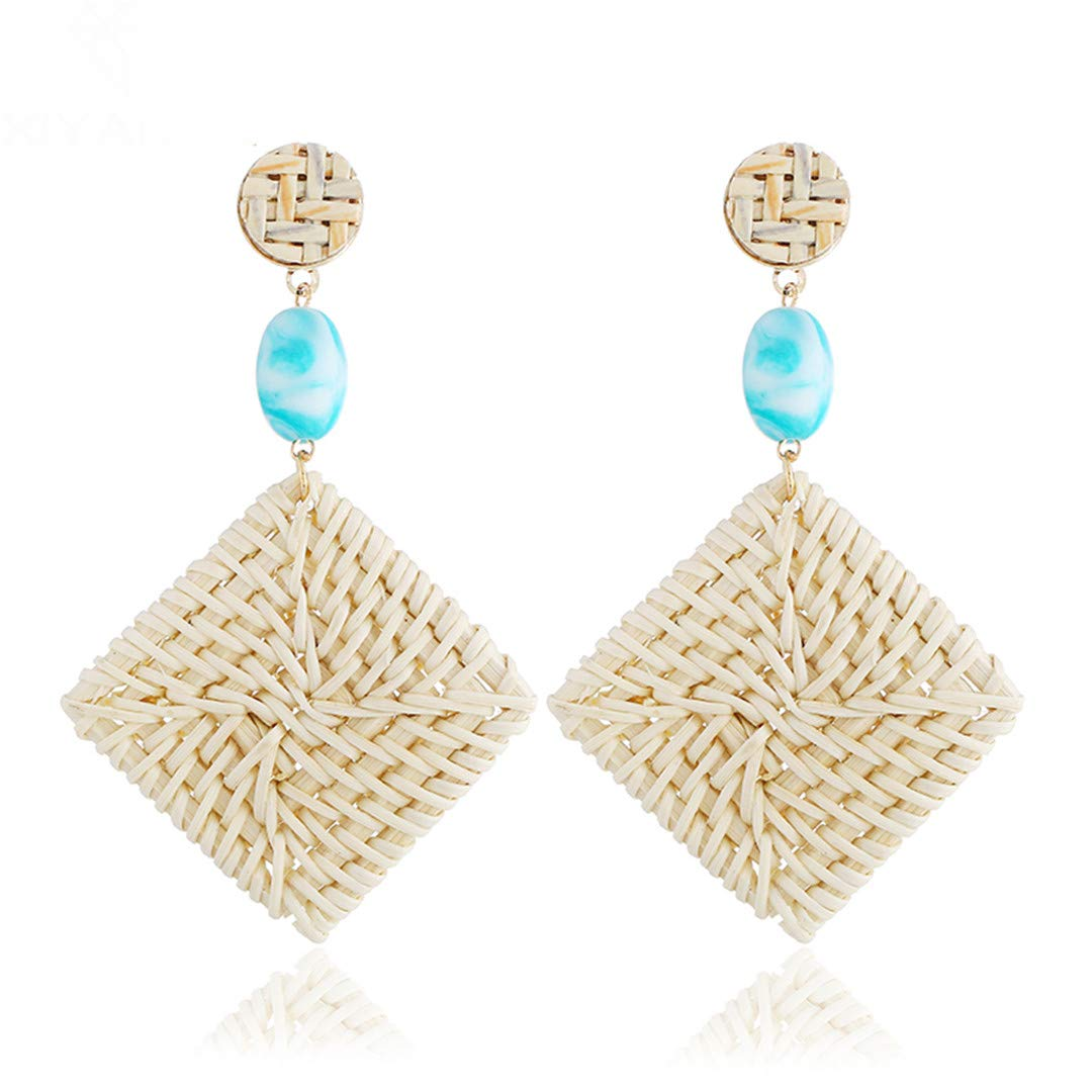 n Square Geometric Wooden Rattan Drop Earrings For Women Girls Gift Fashion Handmade Wedding Jewelry E790