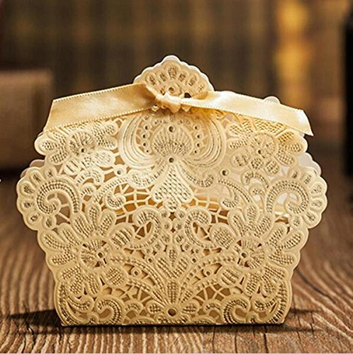 Krismile® 50Pcs Wedding Decorations Red and Champagne Color Lace Hollow Candy Box Gift Box For Wedding Favors B002C (Champagne Gold)
