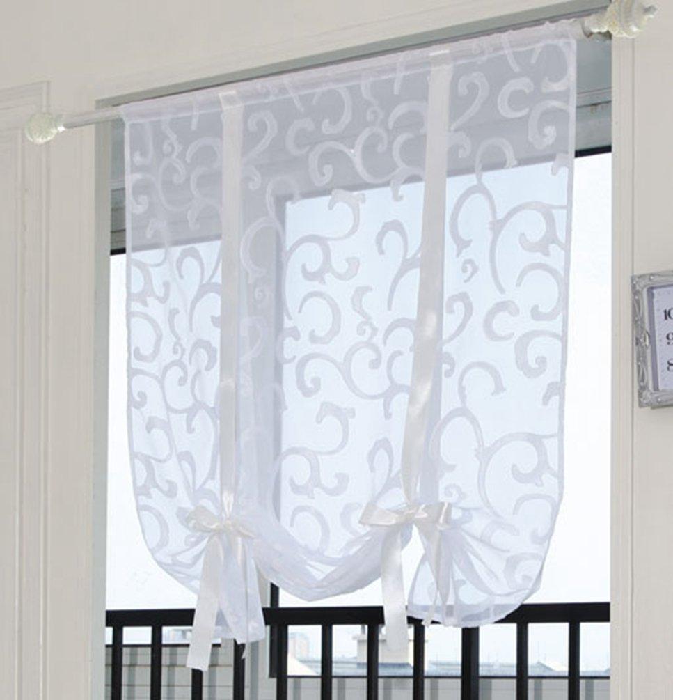 ZebraSmile Adorable Bowknot Tie Up Roman Curtain Lifable Curtain Rod Pocket Balloon Curtain Semi Sheer Kitchen Balloon Window Curtain, 24 x 54 Inch, White