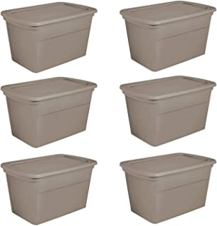product image for Sterilite 30 Gallon Plastic Stackable Storage Tote Container Box, Taupe (6 Pack)