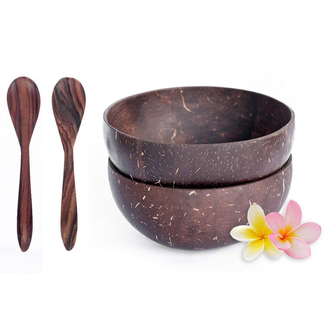 Bali Harvest Original Coconut Bowl and Wooden Rosewood Spoon - 100% Vegan & Natural Handmade Cereal Bowls Set - Coconut Shells (2 Bowls with 2 Spoons)