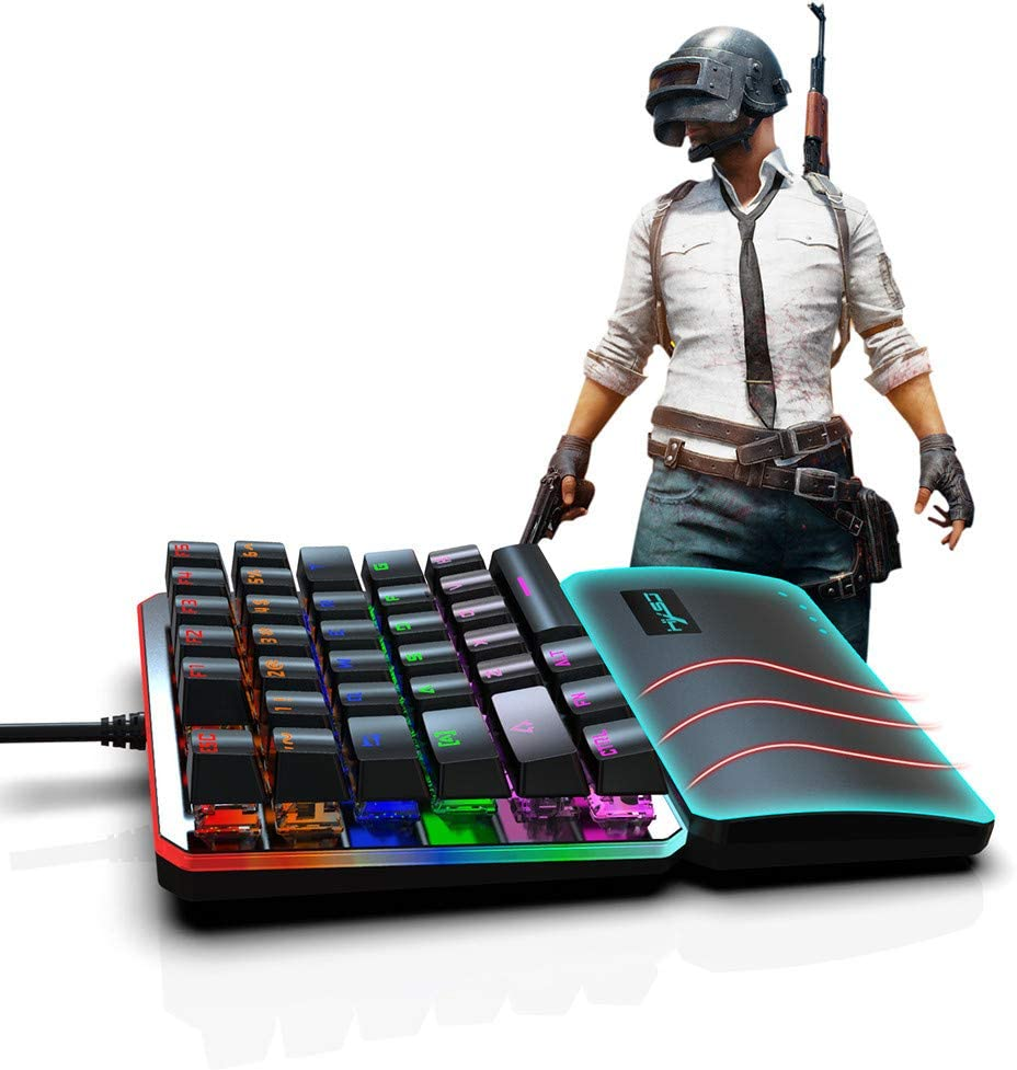 Mini Game Keyboard for LOL//PUBG//Dota//OW//Fps Game 35 Keys Half Keyboard Gaming with Gaming Mouse One Handed Mechanical Gaming Keyboard Wired Gaming Keypad Blue Switches RGB LED Backlit