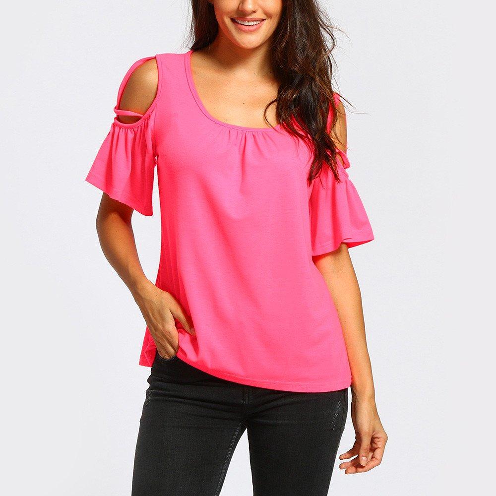 poedkl Womens T-Shirt Tops Blouses Off-The-Shoulder Short-Sleeved Top Summer Short Sleeve Strappy