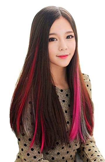 Colored Highlight Hair Extensions Clip In One Piece Color Strips Long Straight Hairpiece 10 Pcs Rose Red